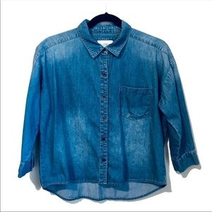 Forever 21 Chambray Button Down Cropped Shirt M